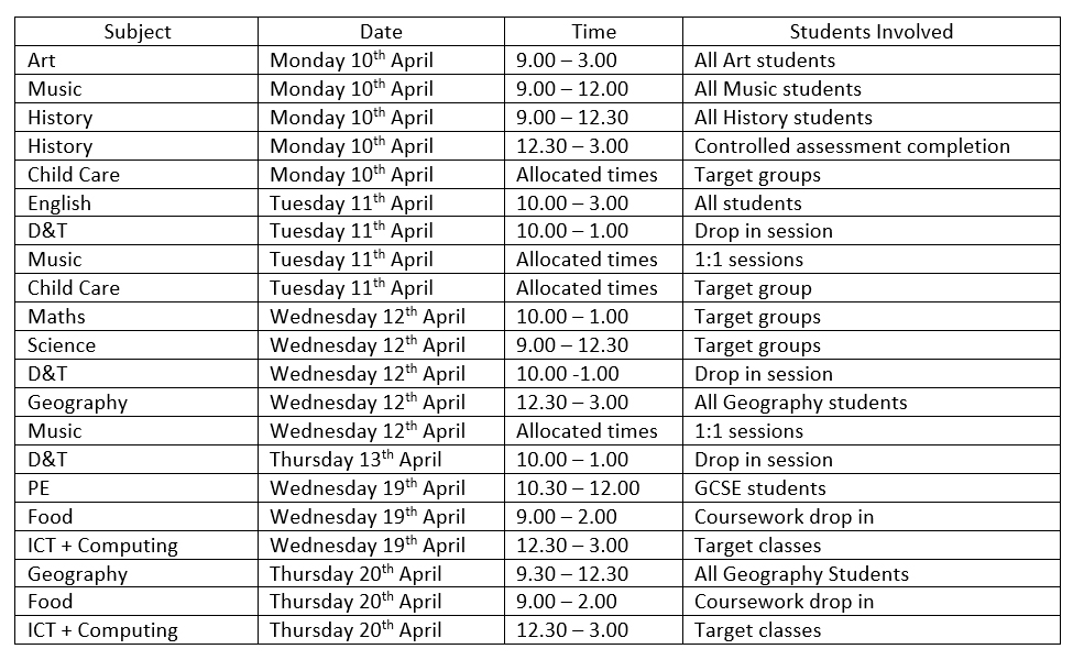 Year 11 Easter Revision Timetable Workington Academy