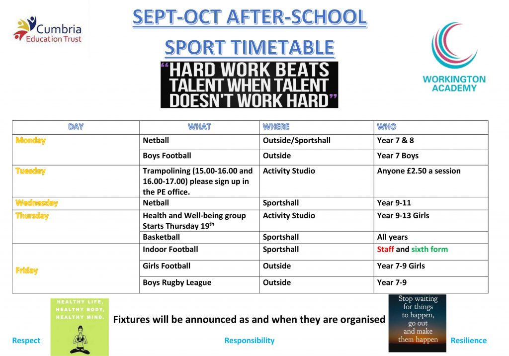 September to October Sports Clubs - Workington Academy